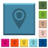 Police station GPS map location engraved icons on edged square buttons - Police station GPS map location engraved icons on edged square buttons in various trendy colors