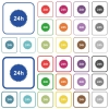 24h sticker outlined flat color icons - 24h sticker color flat icons in rounded square frames. Thin and thick versions included.