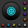 Dress button with 4 holes dark push buttons with color icons - Dress button with 4 holes dark push buttons with vivid color icons on dark grey background