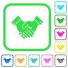 Partnership vivid colored flat icons in curved borders on white background - Partnership vivid colored flat icons