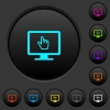 Monitor with pointing cursor dark push buttons with vivid color icons on dark grey background