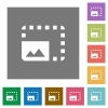 Enlarge photo square flat icons - Enlarge photo flat icons on simple color square backgrounds