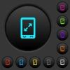 Mobile pinch open gesture dark push buttons with color icons - Mobile pinch open gesture dark push buttons with vivid color icons on dark grey background