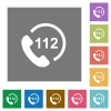 Emergency call 112 square flat icons - Emergency call 112 flat icons on simple color square backgrounds