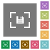 Camera save image square flat icons - Camera save image flat icons on simple color square backgrounds