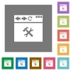 Browser tools square flat icons - Browser tools flat icons on simple color square backgrounds