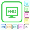 Full HD display vivid colored flat icons in curved borders on white background - Full HD display vivid colored flat icons
