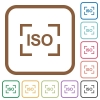 Camera iso speed setting simple icons - Camera iso speed setting simple icons in color rounded square frames on white background