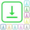 Vertical align bottom vivid colored flat icons - Vertical align bottom vivid colored flat icons in curved borders on white background