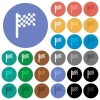 Race flag round flat multi colored icons - Race flag multi colored flat icons on round backgrounds. Included white, light and dark icon variations for hover and active status effects, and bonus shades on black backgounds.