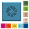 Aperture engraved icons on edged square buttons - Aperture engraved icons on edged square buttons in various trendy colors