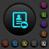 Reply contact dark push buttons with vivid color icons on dark grey background - Reply contact dark push buttons with color icons
