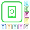 Mobile redial vivid colored flat icons - Mobile redial vivid colored flat icons in curved borders on white background
