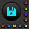 File attachment dark push buttons with color icons - File attachment dark push buttons with vivid color icons on dark grey background