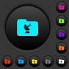 Remote folder dark push buttons with color icons - Remote folder dark push buttons with vivid color icons on dark grey background