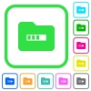 Processing folder vivid colored flat icons - Processing folder vivid colored flat icons in curved borders on white background
