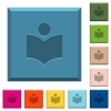 Library engraved icons on edged square buttons - Library engraved icons on edged square buttons in various trendy colors