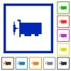 Network interface card flat framed icons - Network interface card flat color icons in square frames on white background