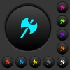 Two headed battle axe dark push buttons with color icons - Two headed battle axe dark push buttons with vivid color icons on dark grey background