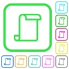 Blank paper scroll vivid colored flat icons in curved borders on white background - Blank paper scroll vivid colored flat icons