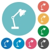 Desk lamp flat round icons - Desk lamp flat white icons on round color backgrounds