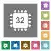 Microprocessor 32 bit architecture square flat icons - Microprocessor 32 bit architecture flat icons on simple color square backgrounds