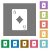 Five of diamonds card square flat icons - Five of diamonds card flat icons on simple color square backgrounds