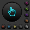 Hand cursor dark push buttons with color icons - Hand cursor dark push buttons with vivid color icons on dark grey background