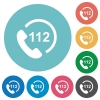 Emergency call 112 flat round icons - Emergency call 112 flat white icons on round color backgrounds