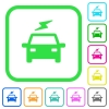 Electric car with flash vivid colored flat icons - Electric car with flash vivid colored flat icons in curved borders on white background