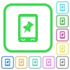 Mobile pin data vivid colored flat icons - Mobile pin data vivid colored flat icons in curved borders on white background
