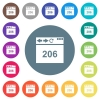 Browser 206 Partial Content flat white icons on round color backgrounds - Browser 206 Partial Content flat white icons on round color backgrounds. 17 background color variations are included.