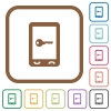 Mobile secure simple icons - Mobile secure simple icons in color rounded square frames on white background