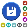 File ok beveled buttons - File ok round color beveled buttons with smooth surfaces and flat white icons