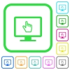 Monitor with pointing cursor vivid colored flat icons - Monitor with pointing cursor vivid colored flat icons in curved borders on white background