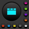 Horizontal tabbed layout dark push buttons with color icons - Horizontal tabbed layout dark push buttons with vivid color icons on dark grey background