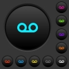 Voicemail dark push buttons with color icons - Voicemail dark push buttons with vivid color icons on dark grey background