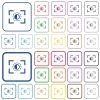 Camera saturation setting outlined flat color icons - Camera saturation setting color flat icons in rounded square frames. Thin and thick versions included.