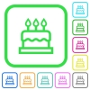 Birthday cake vivid colored flat icons - Birthday cake vivid colored flat icons in curved borders on white background