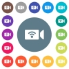Wireless camera flat white icons on round color backgrounds - Wireless camera flat white icons on round color backgrounds. 17 background color variations are included.