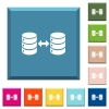 Syncronize databases white icons on edged square buttons - Syncronize databases white icons on edged square buttons in various trendy colors