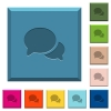 Discussion engraved icons on edged square buttons in various trendy colors - Discussion engraved icons on edged square buttons