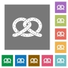 Salted pretzel square flat icons - Salted pretzel flat icons on simple color square backgrounds