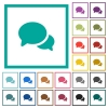 Discussion flat color icons with quadrant frames - Discussion flat color icons with quadrant frames on white background