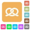 Salted pretzel rounded square flat icons - Salted pretzel flat icons on rounded square vivid color backgrounds.
