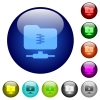 FTP compression color glass buttons - FTP compression icons on round color glass buttons