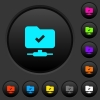 FTP operation successful dark push buttons with color icons - FTP operation successful dark push buttons with vivid color icons on dark grey background