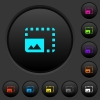 Enlarge photo dark push buttons with color icons - Enlarge photo dark push buttons with vivid color icons on dark grey background