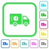 Fast delivery truck vivid colored flat icons in curved borders on white background - Fast delivery truck vivid colored flat icons