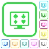 Online gambling vivid colored flat icons - Online gambling vivid colored flat icons in curved borders on white background